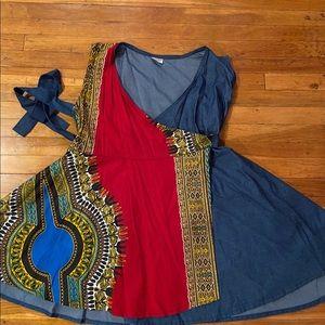 Dresses & Skirts - African Print Wrap Dress